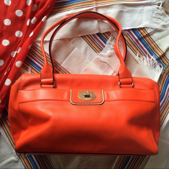 kate spade Handbags - Kate Spade NEON Bright Orange Large Shoulder Bag